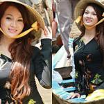 Ngắm Top 10 HHVN 2012 duyên dáng áo bà ba trên sông nước