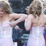 Cựu thành viên Spice Girls bối rối vì váy tụt liên tục