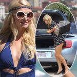 Paris Hilton mặc váy ngắn cũn cỡn, lộ nguyên vòng ba