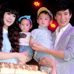 Vợ Lý Hải 'vác' bụng bầu 7 tháng, đưa hai con dự sinh nhật chồng