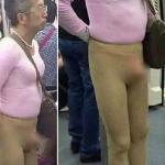 Người đàn ông mặc phản cảm dửng dưng đi tàu điện ngầm
