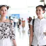 Thanh Trúc - Diệu Linh đáng yêu với 'tóc Na Tra' giữa sân bay