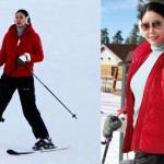 Hoa hậu Hà Kiều Anh mới sinh xong đã tung tăng đi trượt tuyết