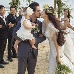 Vợ chồng Trang Nhung hôn nhau trước mặt con gái