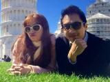 Vợ chồng Trúc Diễm nhí nhảnh và 'xì tin' tại Ý