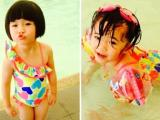 Con gái Thúy Nga diện đồ bơi làm 'sáng cả một góc hồ'