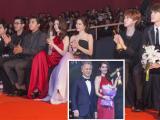 Ngọc Trinh ngồi hàng đầu cùng SuJu khi nhận giải 'Nữ hoàng bikini châu Á'