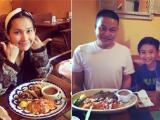 Kim Hiền mặt mộc xinh tươi đi ăn hàng cùng chồng và con trai