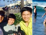 Bằng Kiều đưa hai con trai ra biển lúc sáng sớm