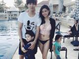 Trương Quỳnh Anh diện áo tắm gợi cảm bên chồng và con trai