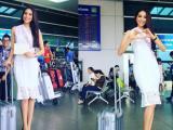 Phạm Hương xinh đẹp lên đường đi thi Hoa hậu Hoàn vũ 2015