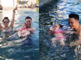 Con gái Trang Nhung thích thú khi lần đầu đi bơi với bố mẹ