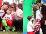 Tim hôn Trương Quỳnh Anh trước mặt con trai