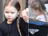 Bé Harper siêu đáng yêu với tóc bím đi chơi cùng bố