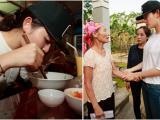 Á hậu Huyền My ăn vội mỳ tôm trên đường đi từ thiện miền Trung