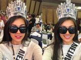 Lệ Hằng tỏa sáng khi đội thử vương miện Hoa hậu Hoàn vũ 2017