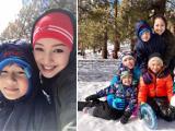 Gần 2 tháng sau sinh, Hoa hậu Jennifer Phạm xinh đẹp đi trượt tuyết cùng các con