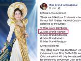 Phương Nga đứng thứ 2 trong bảng xếp hạng trang phục dân tộc tại Miss Grand International 2018