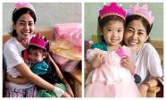 Sức khoẻ yếu nhưng Mai Phương vẫn cố gắng gượng mừng sinh nhật con gái