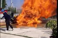 Lính cứu hỏa bốc cháy trong buổi diễn tập