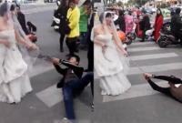 Trốn đám cưới, chú rể bị cô dâu buộc xích lôi xềnh xệch trên phố