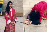 Thủy Tiên mặc trang phục truyền thống của Bhutan, hành lễ khi đi du lịch