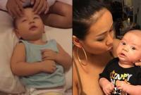 Con trai ca sĩ Thảo Trang thích thú tận hưởng khi được mẹ massage