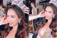 Hoa hậu Phan Thị Mơ tung clip hậu trường khoe vòng một cực gợi cảm