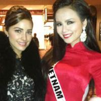 Diễm Hương diện áo dài truyền thống tham gia từ thiện tại Miss Universe
