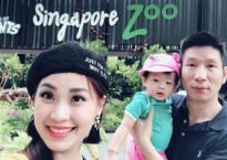 Vợ chồng Á hậu Diễm Trang đưa con gái 13 tháng tuổi đi du lịch Singapore