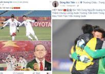 Các chàng trai U23 Việt Nam thể hiện cảm xúc sau khi chiến thắng Qatar