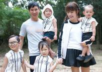 Bà xã Lý Hải diện váy ngắn cũn cùng các con lên phim trường thăm chồng