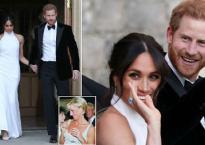 Công nương Meghan Markle diện váy cổ yếm, đeo nhẫn của cố Công nương Diana trong tiệc tối sau hôn lễ