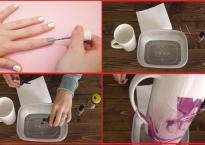Đặt cốc trắng vào nước sơn móng tay, khi bỏ lên đảm bảo khối người bất ngờ