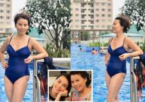 Thân hình săn chắc đáng ngưỡng mộ của mẹ Hồ Ngọc Hà khi mặc đồ bơi