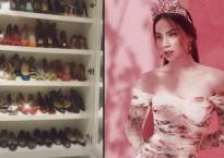 Hồ Ngọc Hà khoe tủ giày hàng hiệu khổng lồ khiến fan choáng váng