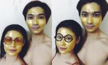 Vợ chồng Trương Quỳnh Anh đắp mặt nạ vàng xa xỉ