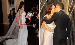 Phủ nhận bầu bí nhưng MC Phương Mai vẫn gây thắc mắc vì lộ vòng 2 lùm lùm trong tiệc cưới