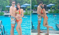 Mang bầu 6 tháng, MC Phương Mai tự tin diện bikini gợi cảm bên chồng Tây