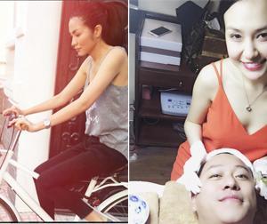 Tin sao Việt mới ngày 30/6: Tăng Thanh Hà đi chợ bằng xe đạp, Tuấn Hưng được vợ chăm sóc da