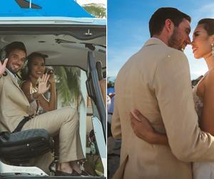Hà Anh được ông xã Tây rước dâu bằng trực thăng trong hôn lễ ở biển