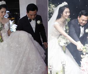 Đám cưới Hoa hậu Thu Ngân: Chồng đại gia cẩn thận nâng váy cho cô dâu