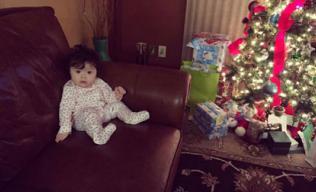 Cadie mắt tròn xoe háo hức ngắm cây thông Noel