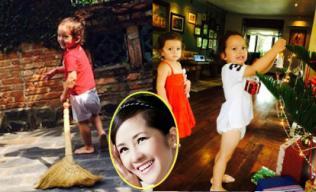 Con trai Hồng Nhung chăm chỉ quét sân giúp mẹ