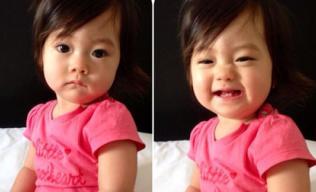 Con gái Đoan Trang cười 'toe toét', khoe răng mới nhú cực yêu