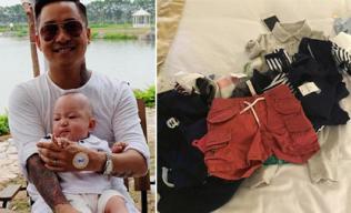 Tuấn Hưng khoe mua sắm loạt quần áo hàng hiệu cho con trai