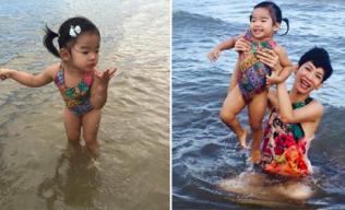 Mẹ con Xuân Lan vui vẻ và rạng rỡ trên biển