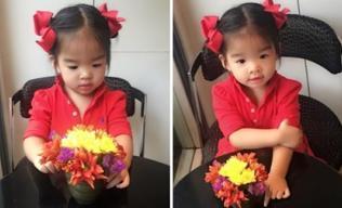 Con gái Xuân Lan ngơ ngác ngắm hoa cực yêu