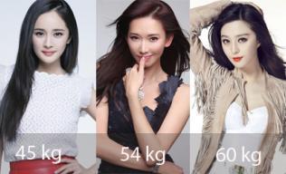 So kè cân nặng của những mỹ nhân Hoa ngữ cùng chiều cao