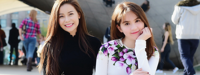 Ngọc Trinh khoe sắc cùng Hoa hậu Áo dài Việt Nam tại Mỹ